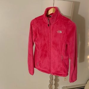 Pink fuzzy north face